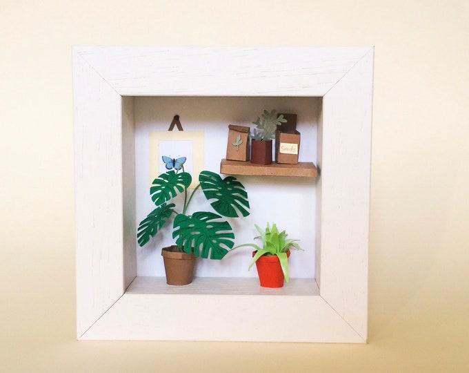 Paper Garden Sculpture, Garden Lover, Handmade Paper Art, Paper Anniversary, Miniature Paper Plant, Paper Flower, Gift for Mum