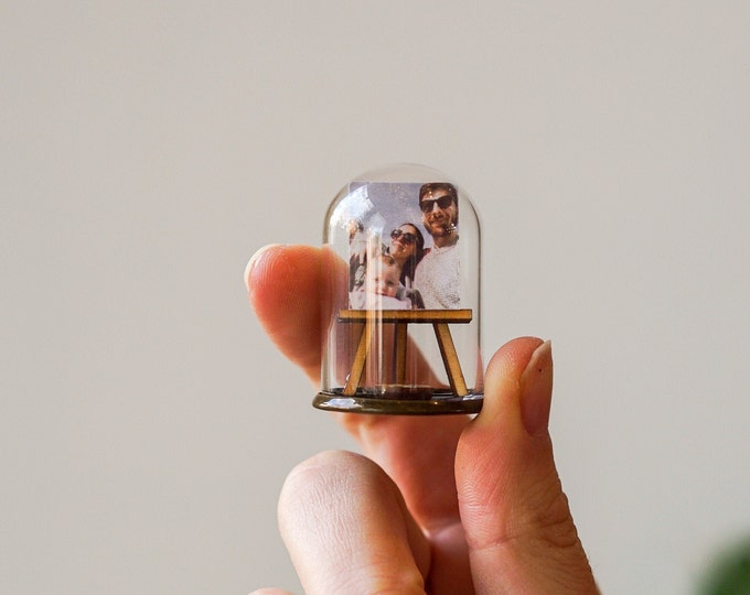Family portrait miniature ornament, personalised family photo miniature