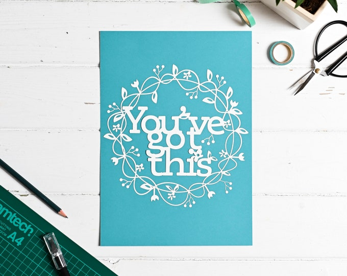 Paper cutting template you've got this, positive affirmation pattern