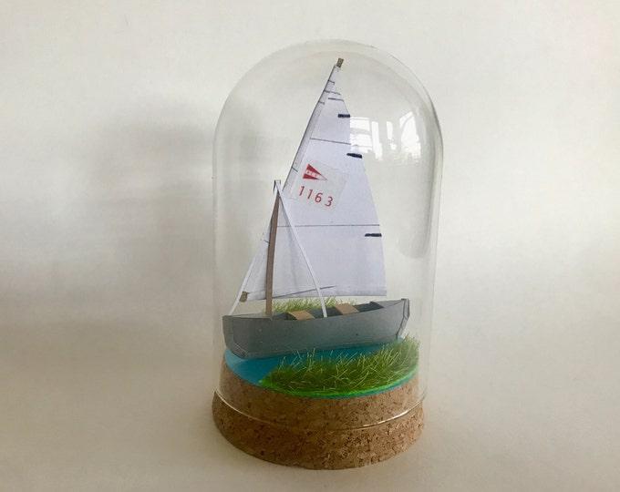 Nautical personalised paper boat, nautical paper boat sculpture