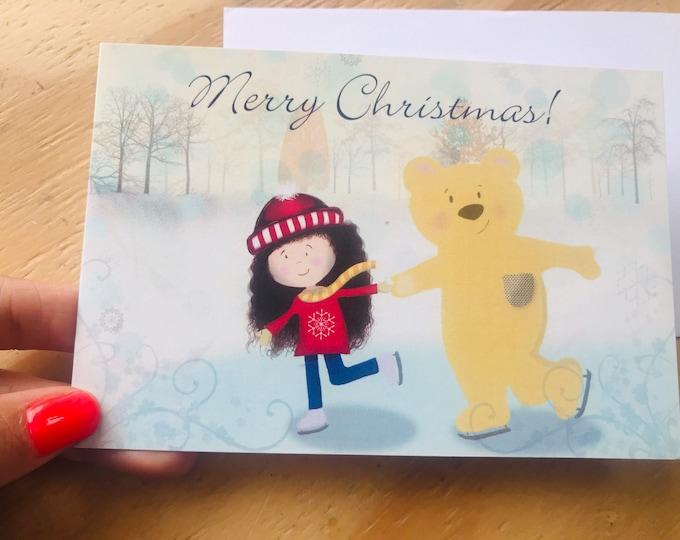 Merry Christmas printed skating card