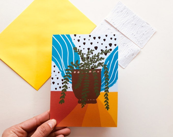 Plant printed eco card, seed paper card