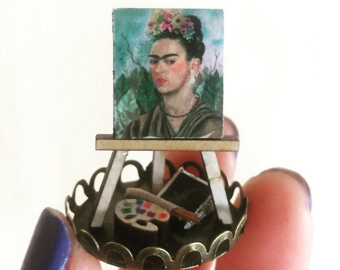 Frida portrait miniature gift, mini painting dome