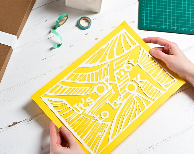 Paper cutting template it is OK not to be OK, positive affirmation