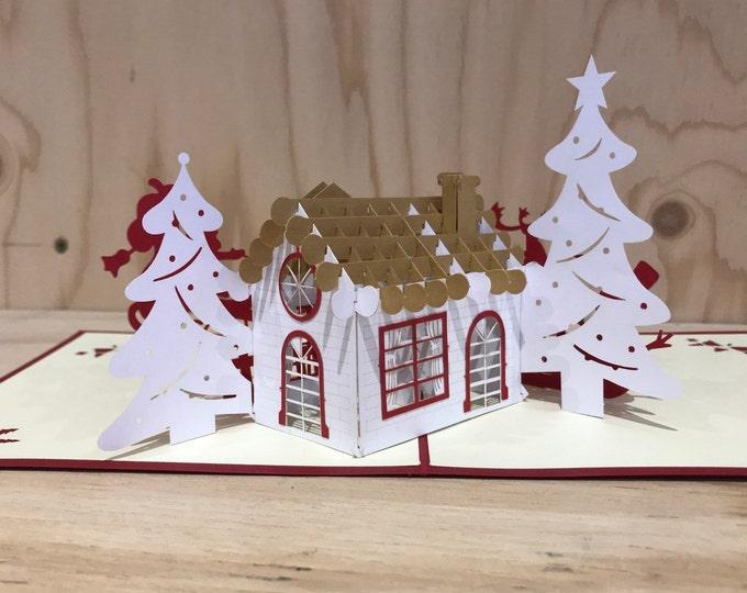 Christmas house pop up card