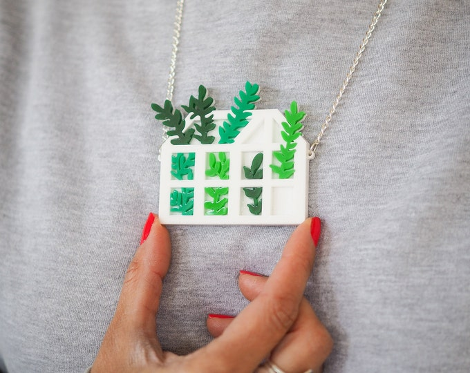 Acrylic greenhouse statement necklace, botanical perspex necklace