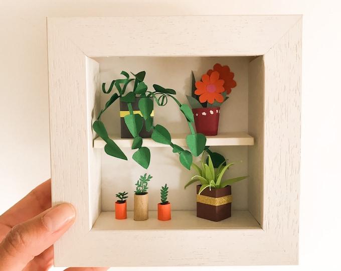Paper garden sculpture, handmade paper art, miniature paper plant