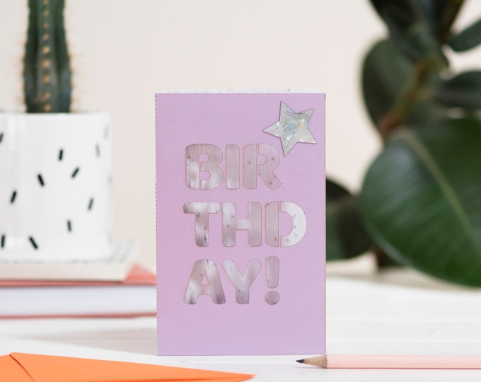 Birthday eco seed card, eco seed paper, laser cut card