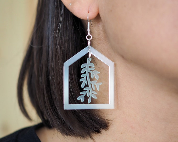 Dangle acrylic earrings, green house clear earring
