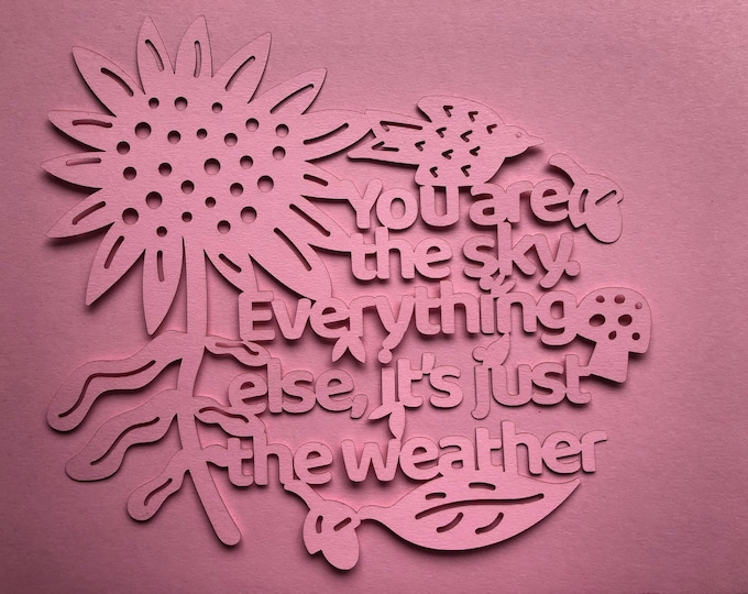 Paper cutting template you are the sky, positive affirmation pattern