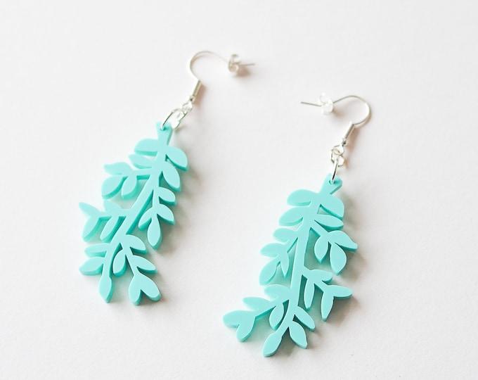 Acrylic mint leaf earring, botanical statement earring