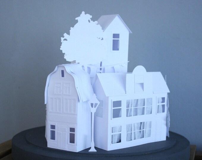 Paper house light sculpture
