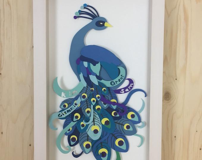 Peacock layered paper art