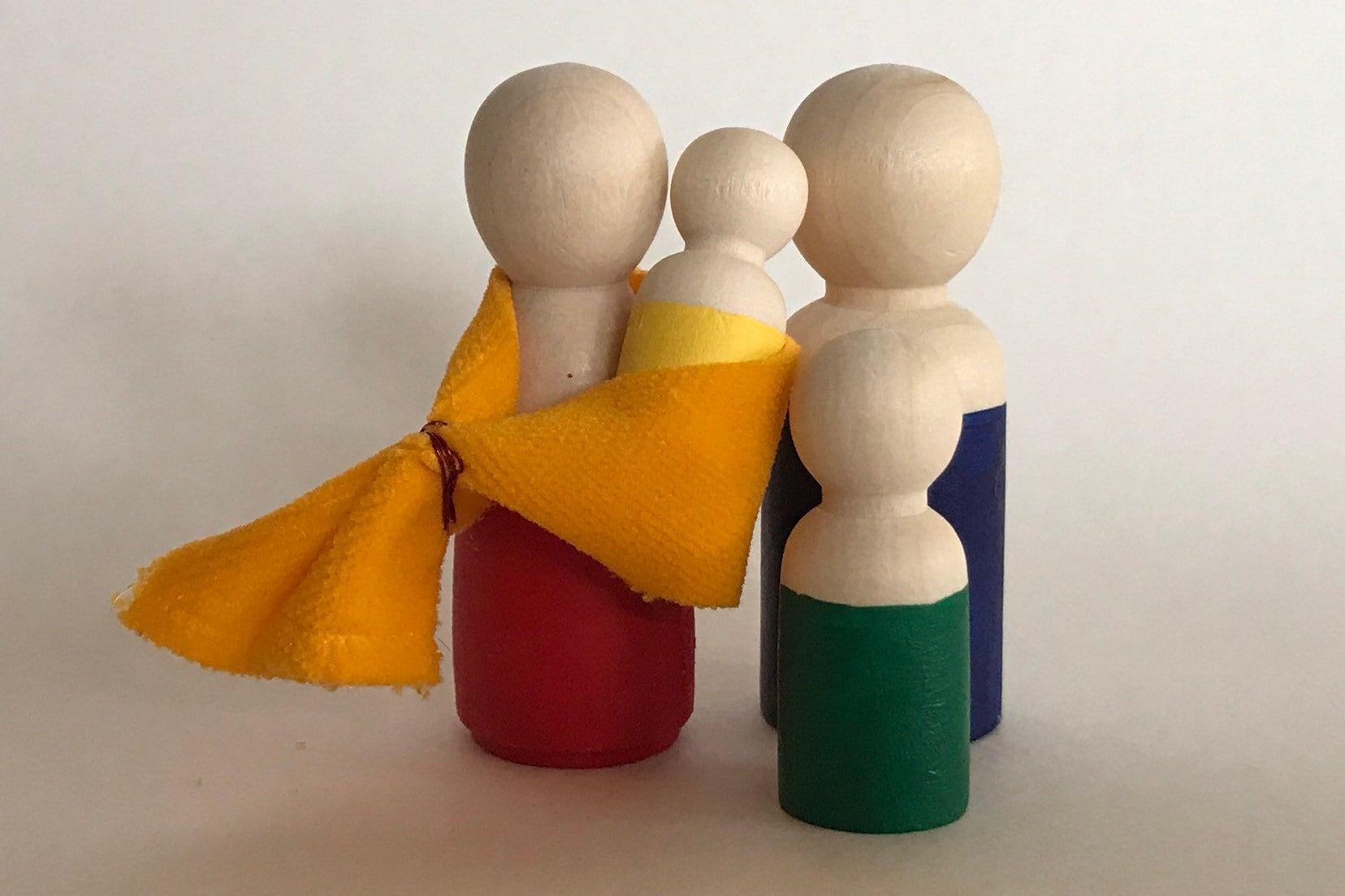 Wooden peg Doll Family of 8 Montessori