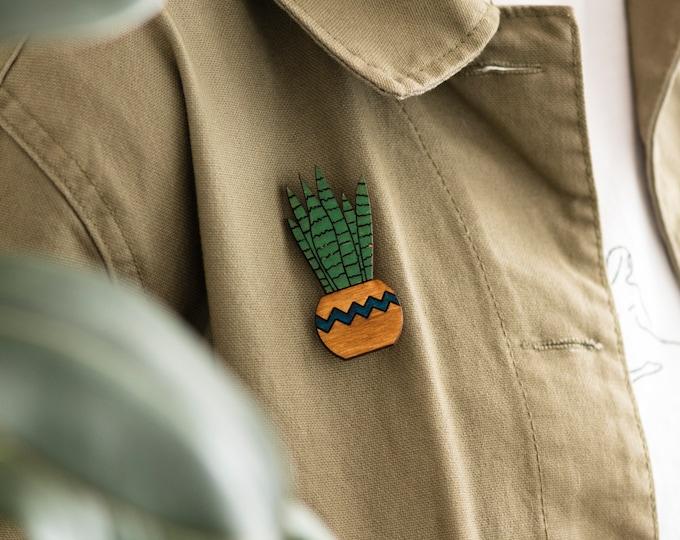 Plant sansevieria pin badge