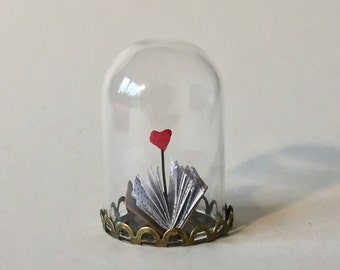 Book Art, Paper Art, Miniature Book, Gift for Her, Book Lover Gift, Book Sculpture, Gift for Him, 1st Anniversary, Miniature Papercut
