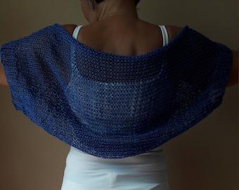 Knitted  Shrug Bolero Summer Shrug Lace Blue Cotton