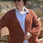 Oversized Hand Knit Cardigan, Bomber, Chunky Sweater, Rusty Orange Open Style Cardigan, Chunky Jacket, Sweater Women's, Big Sweater