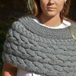 Cable Knitted Shawl Capelet Wedding Shrug Poncho Neck Warmer  Alpaca Wool Dark Grey