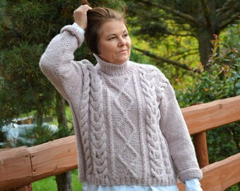 7bf1cec69133 Oversized Hand Knit Sweater Cable Knit Cropped Sweater Crop Loose Knit  Women s Sweater Pink Heather