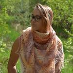 Hand Knit Lace Shawl, Mohair yarn, Hand Knitted Triangular Shawl