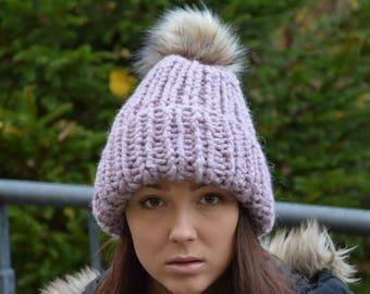 A mano a maglia cappello con cappello di inverno Faux pelliccia Pom Pom  Alpaca lana cappello Chunky Beanie cappello lavorato a maglia cappello  donna ... e12cda9b18b9