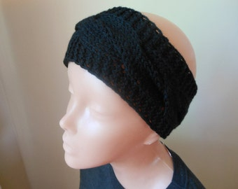 Knit Headband  Ear Warmer Head Warmer Black