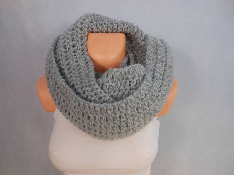 Crochet Infinity Scarf Cowl Neck Warmer Gray Choose Your Color image 0