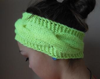 Knit Headband  Ear Warmer Head Warmer Neon Yellow