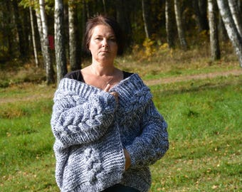 Oversized Hand Knit Cardigan,Bomber, Chunky Sweater, Open Style Cardigan, Chunky Jacket, Sweater Women's Cozy