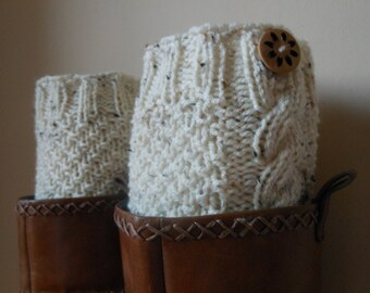 Hand Knitted Boot Cuffs Leg Warmers Oatmeal with Buttons