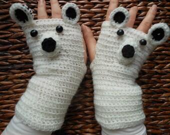 Crocheted Fingerless Mittens  Gloves White Bear