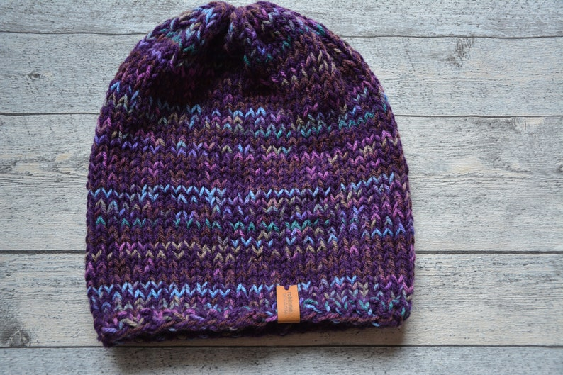 92e3b6f8bd440 Hand Knit Slouchy Beanie Hat Acrylic Purple Two-sided Hat