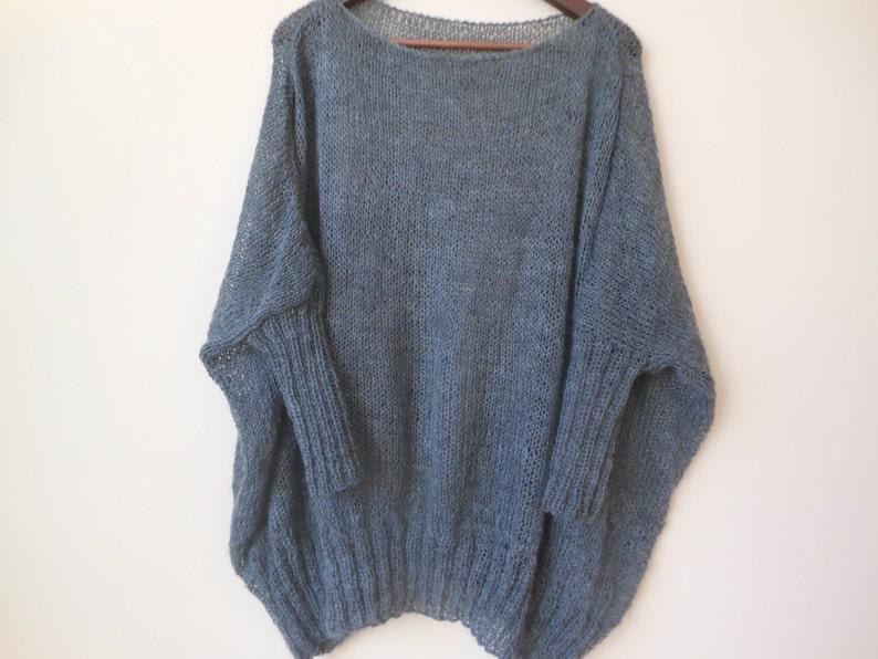 Oversized Plus Size Hand Knit Sweater Tunic Loose Knit image 0