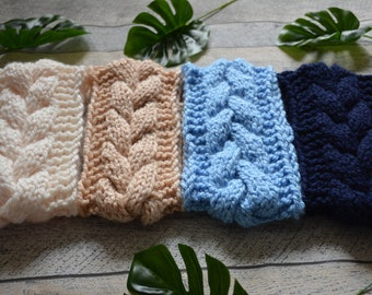 Knit Cable Headband  Ear Warmer Head Warmer Cream, Baby Blue, Navy Blue, Beige