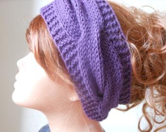Knit Headband  Ear Warmer Head Warmer Purple