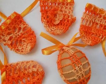 Crochet Easter Egg Cover, Set of 5 Hand Crocheted Easter Eggs Easter Decoration Orange