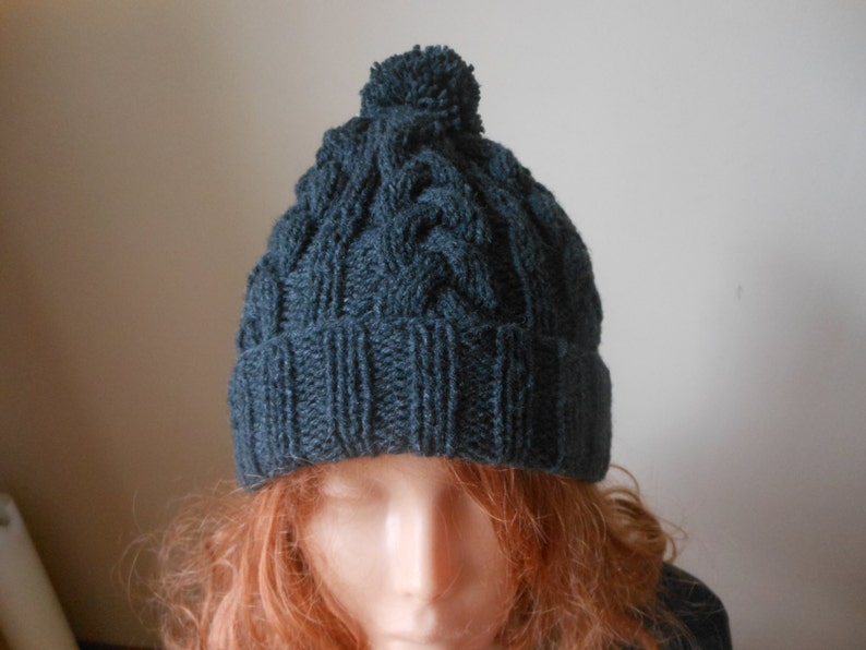 b5286b41f00 Cable Knit Slouchy Beanie Hat Acrylic Dark Gray Unisex With