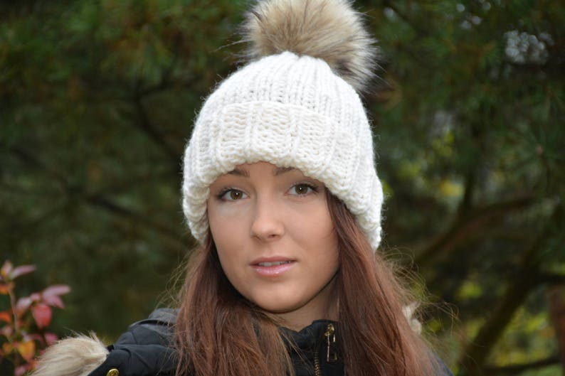 1a54999b47e Hand Knit Hat with Faux Fur Pom Pom Alpaca Wool Hat Chunky