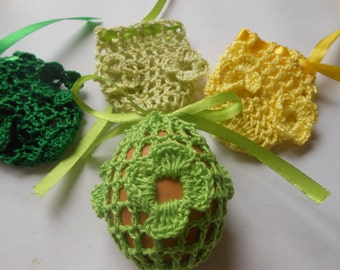 Crochet Easter Egg Cover Cozy, Set of 4 Hand Crocheted Easter Eggs Easter Decoration Green Yellow