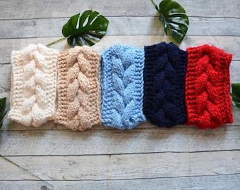 Knit Cable Headband  Ear Warmer Head Warmer Cream, Baby Blue, Navy Blue, Beige, Red