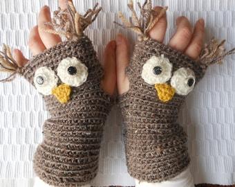 Crocheted Fingerless Mittens  Gloves Beige Owl