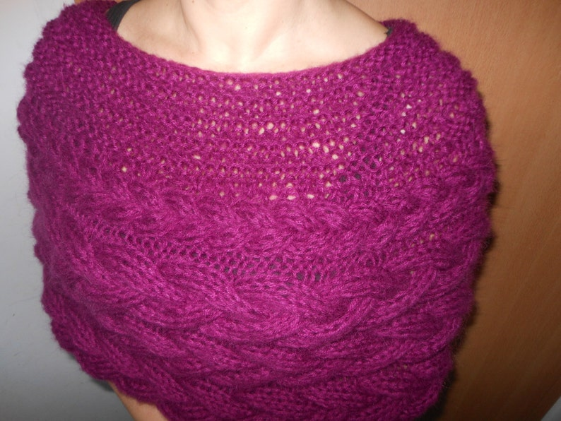 Cable Knitted Shawl Capelet Wedding Shrug Poncho Neck Warmer image 0