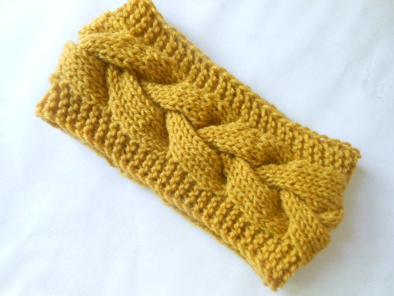 Knit Headband  Ear Warmer Head Warmer Mustard Yellow image 0