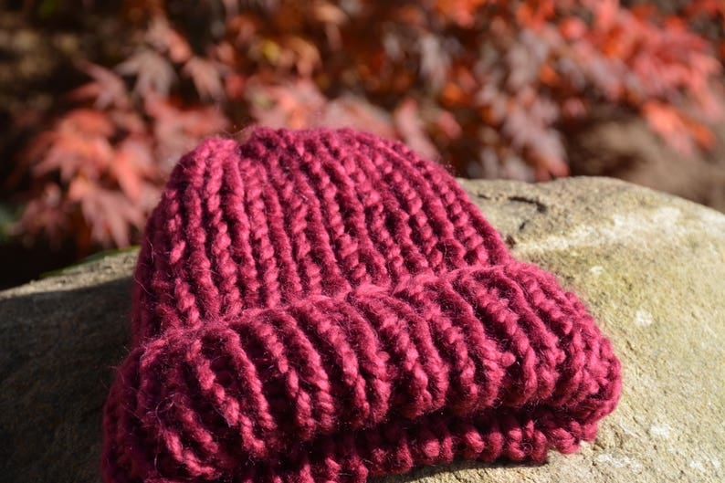 Hand Knit Hat Alpaca Wool Hat Maroon Chunky Beanie Hat Knitted image 0