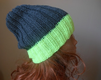 Hand Knit Slouchy Beanie Hat Acrylic Gray and Neon Yellow Unisex