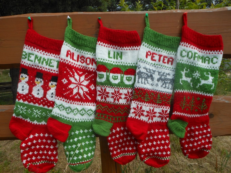 Set of 5 Personalized Christmas Stockings Hand Knitted image 0