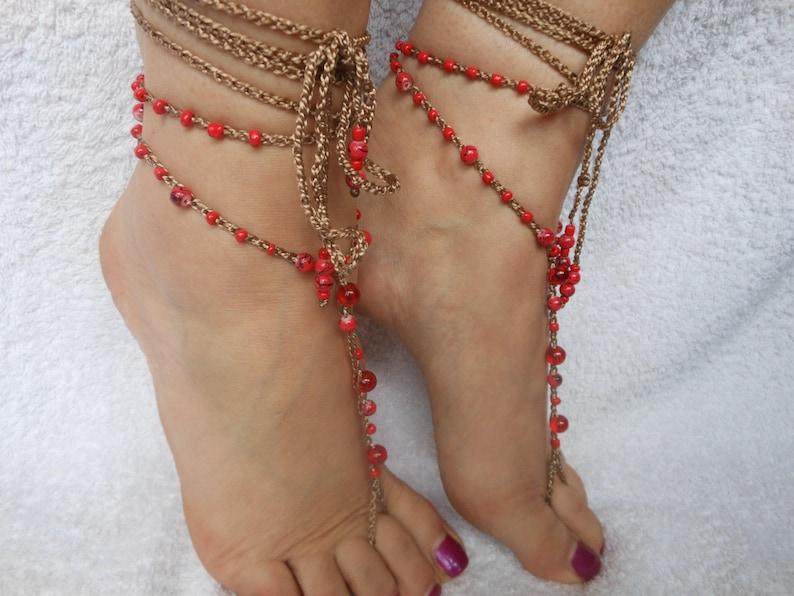 Crochet Barefoot Sandals Beach Wedding  Yoga Shoes Foot image 0