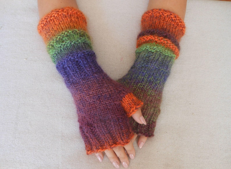 Hand Knitted Fingerless Mittens  Gloves Multi Color Fingerless image 0