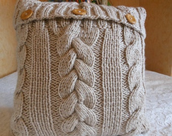 Cable Knit Pillow Cover Pillow Beige Pillow Decorative Knit Pillow Handmade Home Decor 16x16